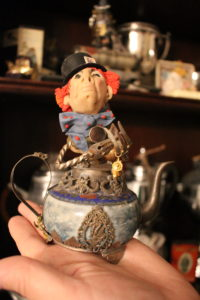 Mad Hatter figurine by local artist at Twisted Teapot.